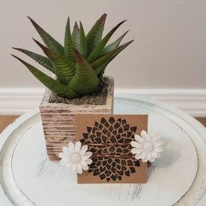 White Daisy Sunflower Hair Pins